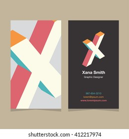 """Logo alphabet letter """"X"""", with business card template. Vector graphic design elements for company logo."""