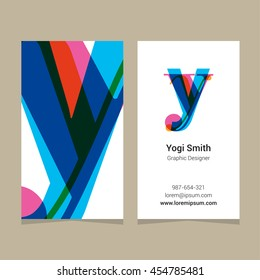 "Logo alphabet letter ""y"", with business card template. Vector graphic design elements for company logo."