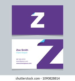 "Logo alphabet letter ""Z"", with business card template. Vector graphic design elements for company logo."