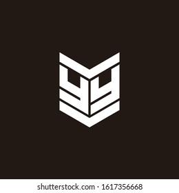 Logo alphabet monogram with emblem style isolated on black background