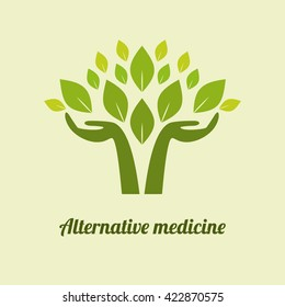 logo Alternative Medicine. health, nature. eco, bio supplements, homeopathy leaves in their hands. flat icon