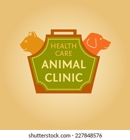 Logo with animals for animal clinic. Health care. Veterinary hospital. Cat and dog. Cat and dog in the bag-carrying.