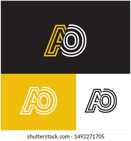 Logo AO, O, OA,A design template. Logo modern for your business