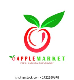 logo apple with red and green color. vector illustration