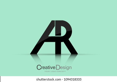 Logo AR Letter Design with Gold-colored Fonts and Creative Letters.
