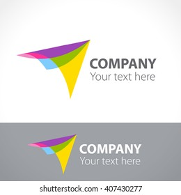 Logo arrow, aircraft. Vector color illustration.