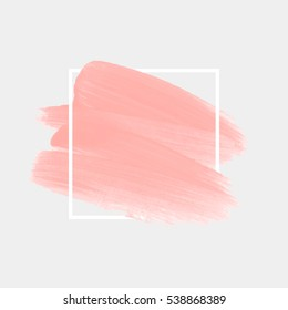 Logo art abstract brush painted watercolor background isolated vector illustration.  Acrylic stroke backdrop. Base makeup.