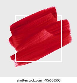 Logo art brush paint template. Original grunge art brush paint texture background acrylic stroke poster over square frame vector illustration. Perfect watercolor design for headline, logo and banner.