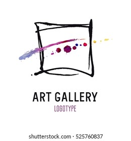 Logo for the Art Gallery. Abstract image of a black frame and a bright color spots in the middle.