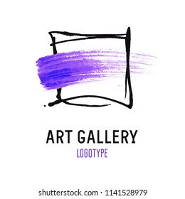 Logo for the art gallery. Black frame and purple smear of paint.