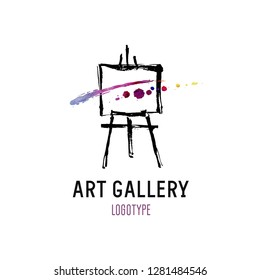 Logo for art gallery. Illustration of an easel with abstract picture.