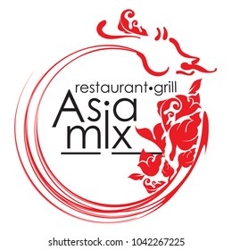 Logo for AsiaMix restaurant or cafe. Abstract Creative concept vector Logo. Design for restaurants and cafes. Business logo. Vector Illustration