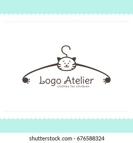 Logo Atelier making children's clothes. Vector template for the fashion industry. Element for Studio sewing and tailoring. Illustration in cartoon style