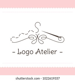 Logo for Atelier, wedding boutique, women's clothing store. Vector template of the brand for the fashion designer. Element for Studio sewing and tailoring. Stylized hanger from thread and needle