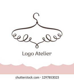 Logo for Atelier, wedding boutique, women's clothing shop. Vector template of the brand for the fashion designer. Stylized hanger of twisted lines