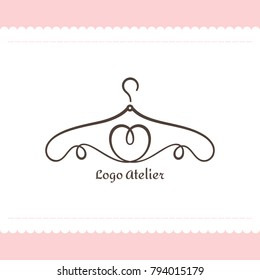 Logo for Atelier, wedding boutique, women's clothing store. Vector template of the brand for the fashion designer. Element for Studio sewing and tailoring. Hanger from lines in the form of heart