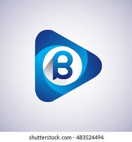Logo B letter blue colored in the triangle shape, Vector design template elements for your application or company identity.