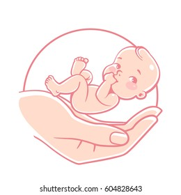 Logo of  baby care, family love, protection, pregnancy. Concept of nursing child. Parent's hands. Childbearing. Newborn baby in safety. Symbol of in vitro fertilization. Vector color  illustration.