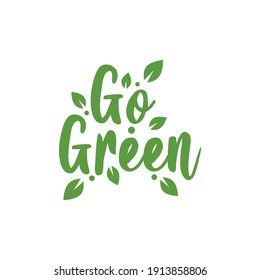 Logo background writing go green with leaves