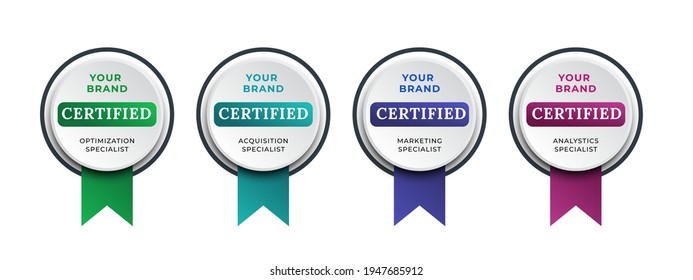 Logo badge for certification technical, analyst, internet, data, management system, etc. Digital certified logo verified achievements company or corporate with ribbon design. Vector illustration.