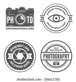 Logo or badge, label, logotype elements for photographer