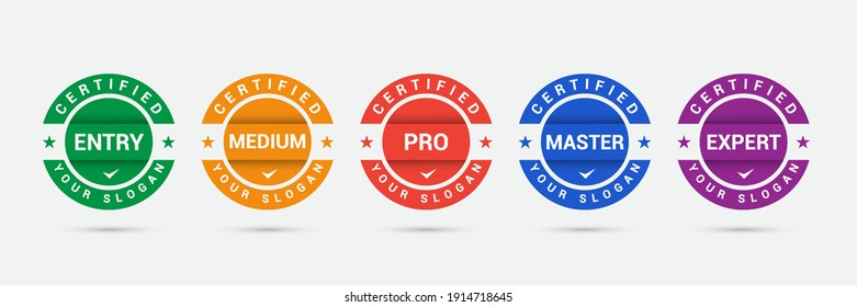 Logo badge for standard certified training criteria company. Vector illustration certify logo design. Certification icon business template.