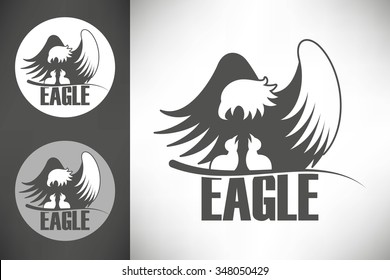 Logo with bald eagle with chicks in the nest