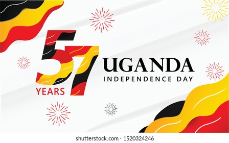 Logo banner design 57th the National Day Uganda ,happy independence day uganda