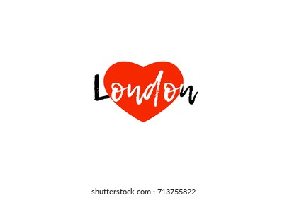 Logo or banner for european capital london of united kingdom UK with a red love heart suitable for tourism or touristic promotion