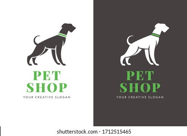 Logo or banner, poster design for pet shop or purposes with the dog silhouette and company text in the center. Vector, flat design.