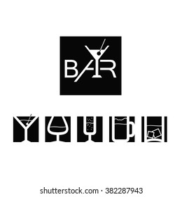 Logo for the bar with icons of drinks