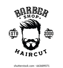 Logo for barber shop, hair salon with hipster head and barber scissors. Vector Illustration