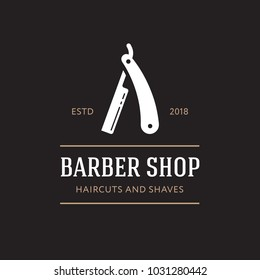 Logo for barbershop, hair salon with barber razor blades. Cool logotype. Vector illustration. Modern style. Men style.