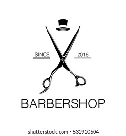 Logo for barbershop, hair salon with barber scissors and top hat. Vector Illustration