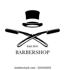 Logo for barbershop, hair salon with barber razor blades and top hat. Vector Illustration