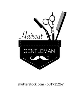 Logo for barbershop, hair salon with barber scissors, razor and comb. Vector Illustration