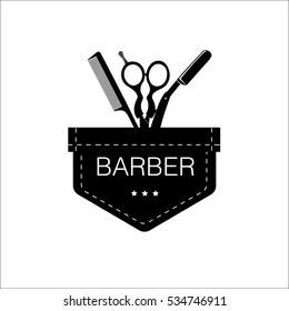 Logo for barbershop, hair salon with barber scissors, razor and comb. Vector Illustration