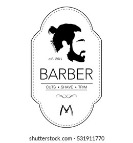Logo for barbershop, hair salon with ponytailed hipster head. Vector Illustration