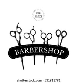 Logo for barbershop, hair salon with set of barber scissors. Vector Illustration