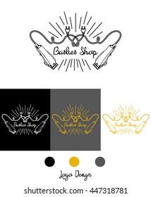 Logo for barbershop, hairdresser, beauty salon. Clippers and inscription. Vector illustration