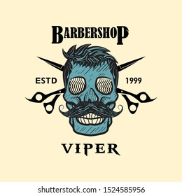 Logo  barbershop viper eps 10, illustration vintage old school