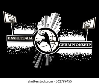 Logo basketball championship with urban elements and the silhouette basketball atmosphere on the background of a basketball ball. Vector illustration