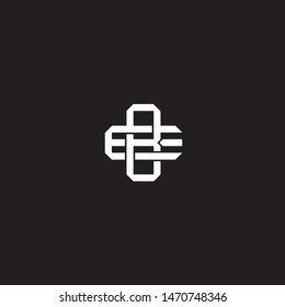 Logo BE B E EB initial monogram locked style with black and white colors