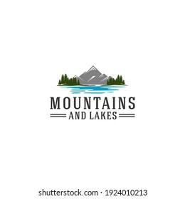 logo of beautiful mountain and river views