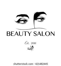 Logo for beauty salon with Arab woman Vector Illustration