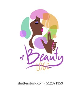 Logo for the beauty salon. Image Profile elegant dark-skinned girl with red lips and nails.