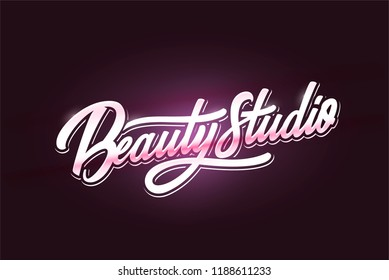 Logo Beauty Salon  Nail Studio Inscriptions. Custom handmade calligraphy, vector lettering.