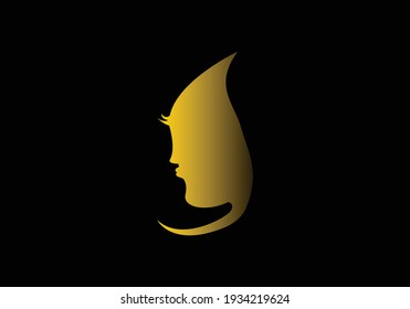 Logo for beauty salon or studio, hair salon, cosmetic. Emblem with girl face. Icon woman long hair. Silhouette of a lady. Gold logo on black background