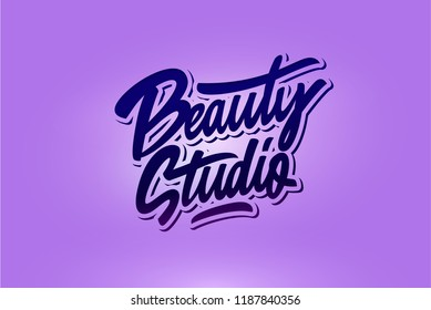 Logo Beauty studio.  Custom handmade calligraphy, Vector brush lettering for beauty salon.