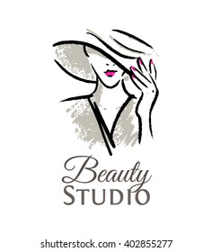 Logo for the beauty studio. Woman in hat with red lips and manicure.